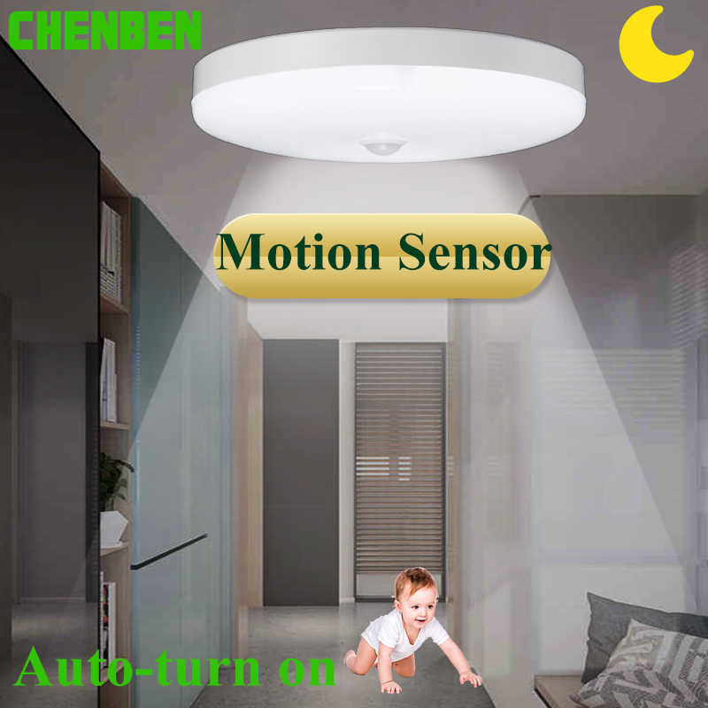LED Ceiling Light with Motion Sensor Light Ceiling Lamp 12W 18W 220V Night Lamps for Stair Corridor Bathroom Home Lighting White