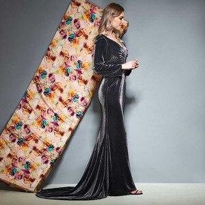 Image 2 - Dressv abito da sera con scollo a v maniche lunghe pieghe di lunghezza del pavimento della sirena di cerimonia nuziale del partito del vestito convenzionale tromba abiti da sera