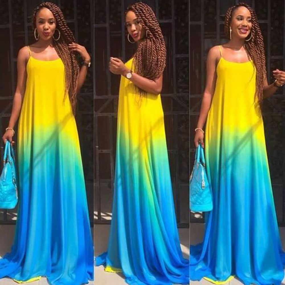Giraffita New Fashion Europe And The United States Women Party Dress Gradient Color Harness Long Dresses Casual Rainbow Color