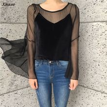 Fashion Flare Sleeve Two-piece Chiffon Blouse Korean Autumn Women Blusas Transparent Mesh Long Shirts 40890 Xnxee