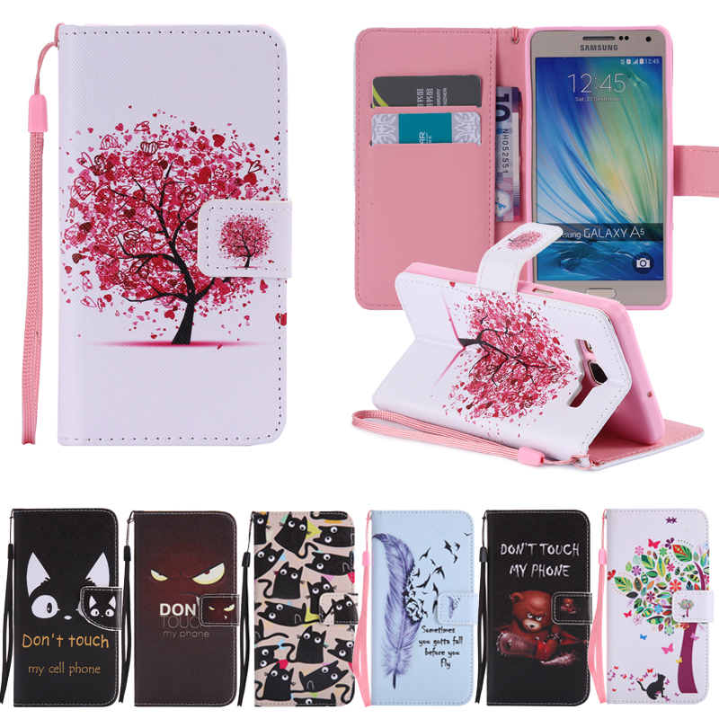 For <font><b>Samsung</b></font> Galaxy A5 A 5 2015 A500 SM A500H <font><b>A500FU</b></font> SM-A500F Bags Wallet Flip Leather Cover For Galaxy A5 A 5 2015 Phone <font><b>Case</b></font> image