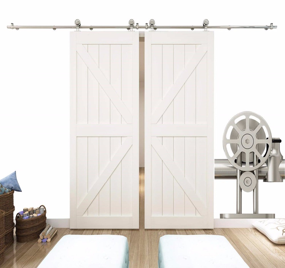 10ft Stainless Steel Double Sliding Barn Door Hardware Top Mount Spoke Wheel10ft Stainless Steel Double Sliding Barn Door Hardware Top Mount Spoke Wheel