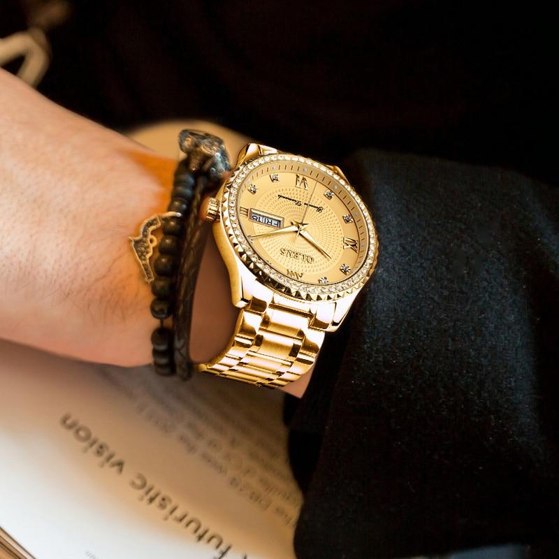 OLEVS hommes montres en or suisse montre à Quartz Sport Top marque de luxe étanche Auto Date bracelet en acier Relogio Masculino nouveau