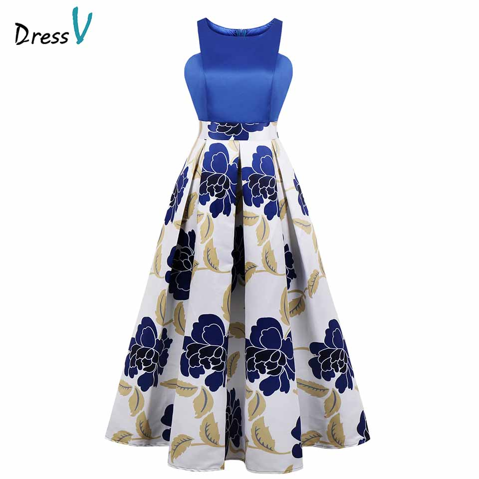 Dressv print   evening     dress   cheap scoop neck a line sleeveless floor length wedding party formal   dress     evening     dresses