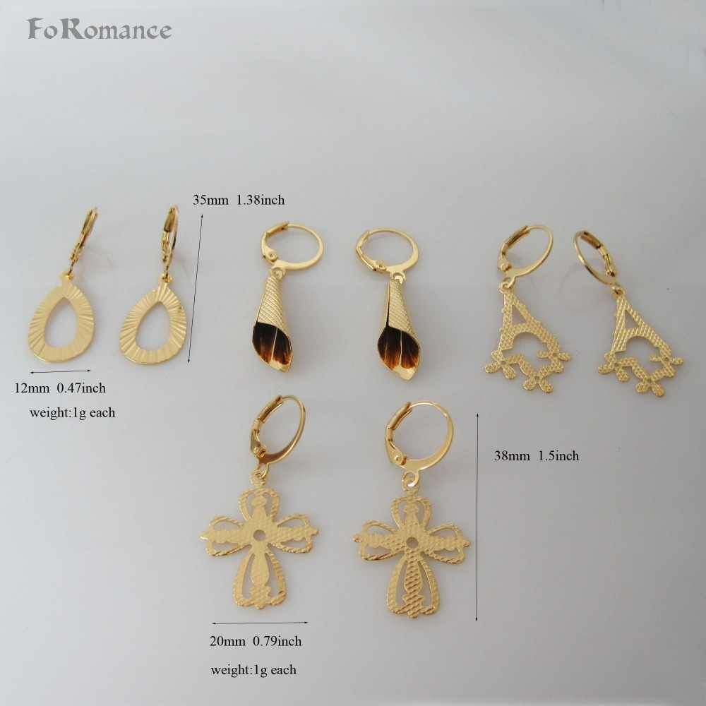 "ORDER 10$ GET FREE SHIPPING/FOUR STYLES CARVED DANGLER - YELLOW GOLD GP TALL 1.5"" EARRING/ WATER DROP LETTER A JESUS CROSS HORN"