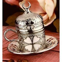 Аутентичная Турецкая кофейная чашка блюдце Фарфоровая Медная крышка цветок старшего возраста