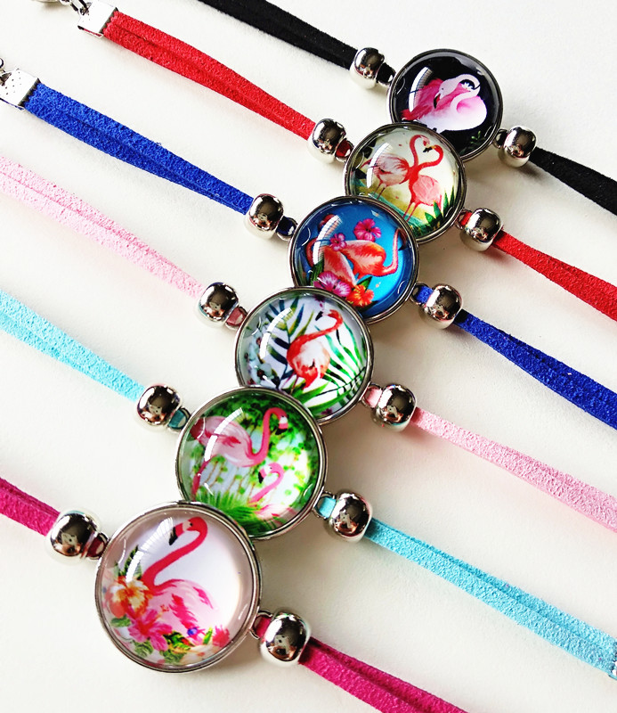 Jiangzimei 24pcs/lot  Flamingos Unicorn Bracelet Handmade Leather Charm Bracelets For girl