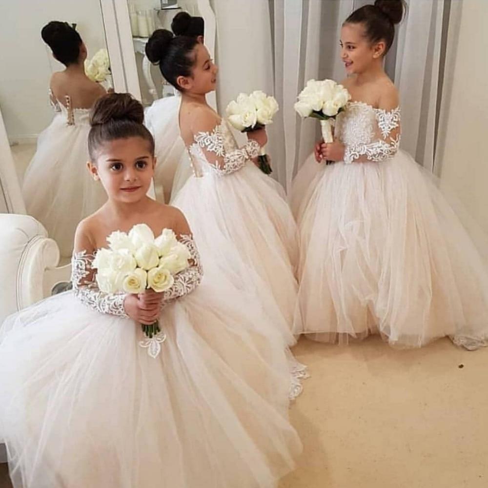 Belle robe de demoiselle d'honneur ivoire dentelle Appliques robe de bal à manches longues première communion robes de demoiselle d'honneur robes vestidos
