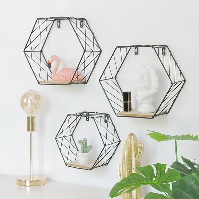 Wood Iron Art Hexagonal Grid Wall Shelf Combination Wall Hanging