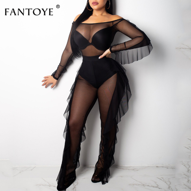 cd520bf5054 Fantoye Sexy Night Club Ruffles Two Piece Set Mesh Jumpsuit New Off Shoulder  Long Sleeve See Through Women Rompers Overalls Suit