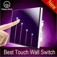 Free Shipping Purple Tempred Glass Switch Panel 4 Gangs 1 Way Wallpad UK Standard Touch Switch