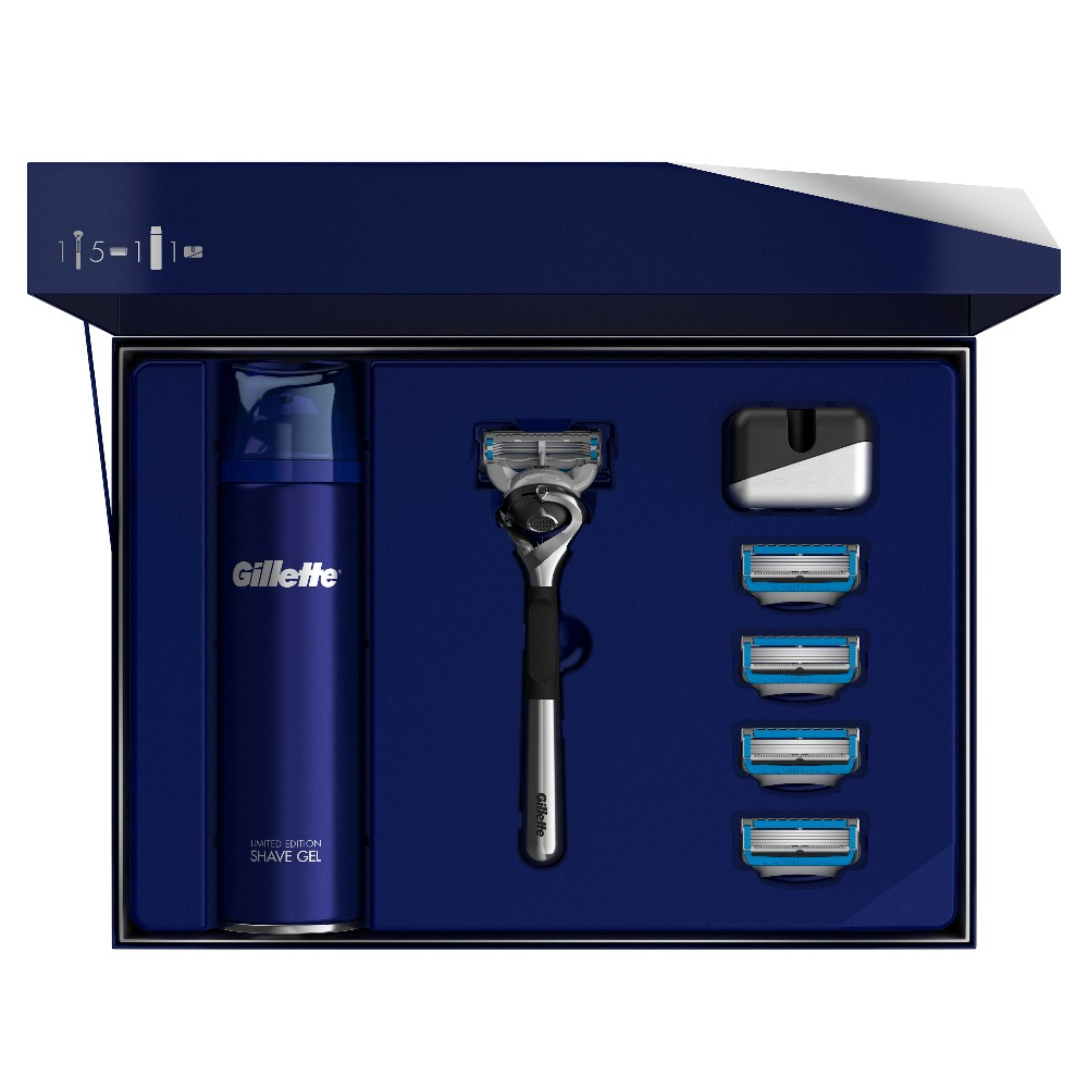 Gillette Fusion5 ProShield Chill Gift Set Limited Edition with Chrome Handle (Razor + 5 Replaceable Cassettes + Shaving Gel, 200 vintage classic stainless steel straight edge razor folding shaving razor knife with wood handle