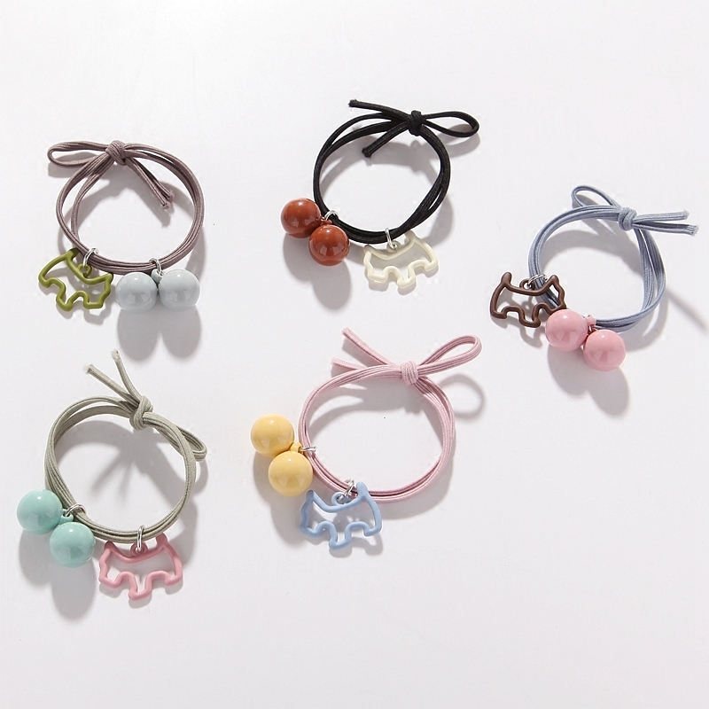 Woman Lovely Color Ball With Dog Pendant Hair Rope Hand-made Bow Rubber Band Girls Hair Accessories