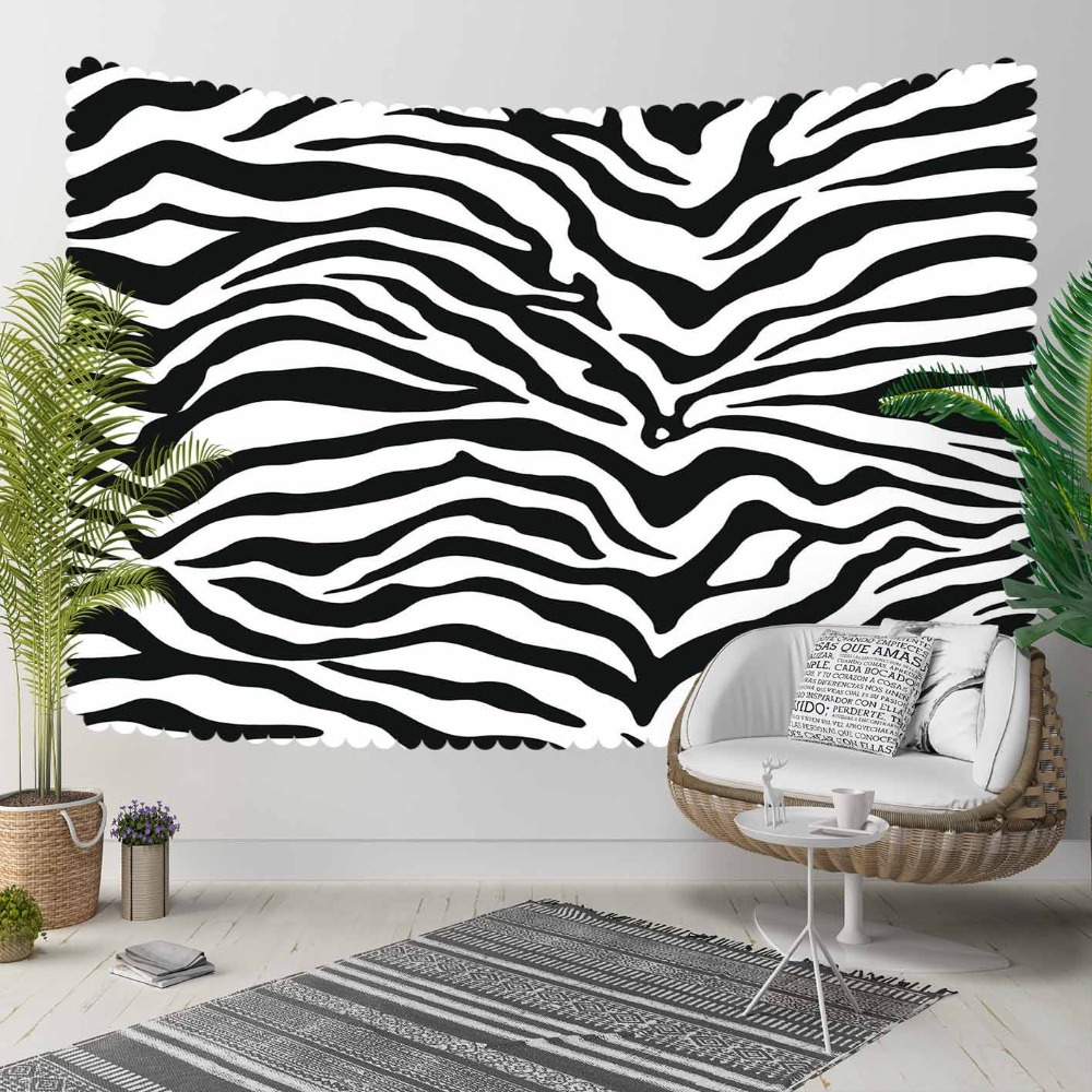 Else Black White Zebra Fur Design Animals 3D Print Decorative Hippi Bohemian Wall Hanging Landscape Tapestry Wall Art