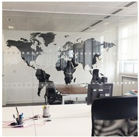 Black Large World Map Office Wall Sticker Letters Map Wall Art Mural Bedroom Home Decoration Wall