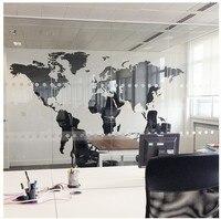 สีดำขนาดใหญ่แผนที่โลกสำนักงานผนังสติกเกอร์ตัวอักษรแผนที่ผนังศิลปะภาพจิตรกรรมฝาผนังห้อ...