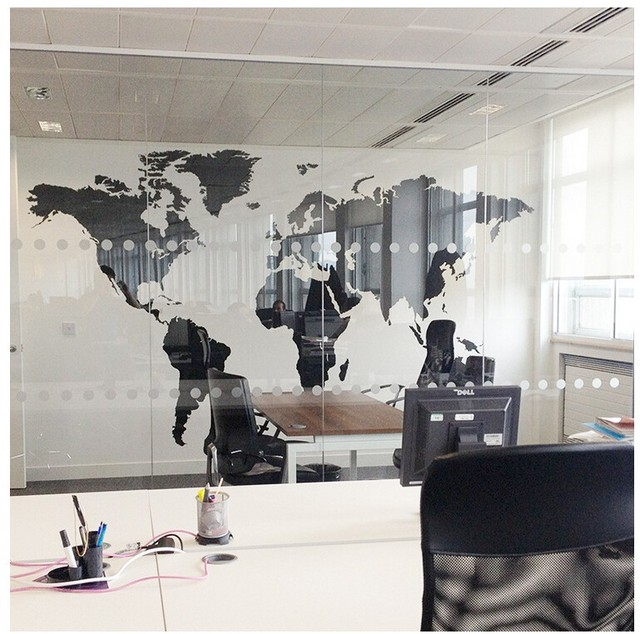 Black Large World Map Office Wall Sticker Letters Map Wall Art Mural