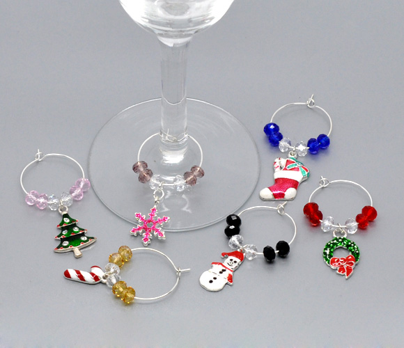 hoomall 1box wine charms christmas decorations charm pendants christmas wine glass marker mixed christmas gifts party supplies in party diy decorations from - Christmas Wine Charms