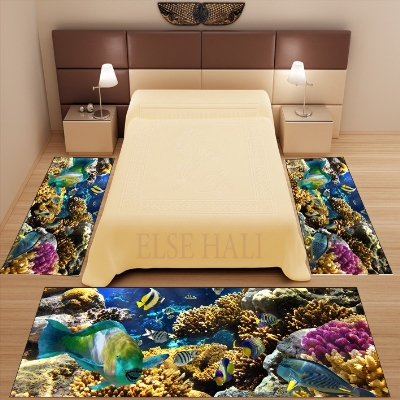Else 3 Piece Tropical Under Sea Aquarium Fishes 3d Pattern Print Non Slip Microfiber Washable Decor Bedroom Area Rug Carpet Set