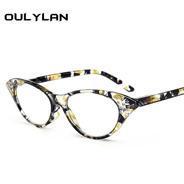Oulylan Cat Eye Reading Glasses Women Diamond Eyeglasses Presbyopic with Diopter 1.0 1.5 2.0 2.5 3.0 3.5 4.0 for Male Female