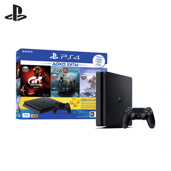"Sony PlayStation 4 Slim (1TB) Black (CUH-2208B) + ""HZD CE"" + ""GT Sport"" + ""GOW"" + PS Plus 3-month playstation 4"