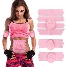 Pink Body Sculpting Stimulator Pads Set 1pc Abdominal Pad+2pcs Arm Pads+3pcs Controllers Smart Muscle Massager Fitness Equipment