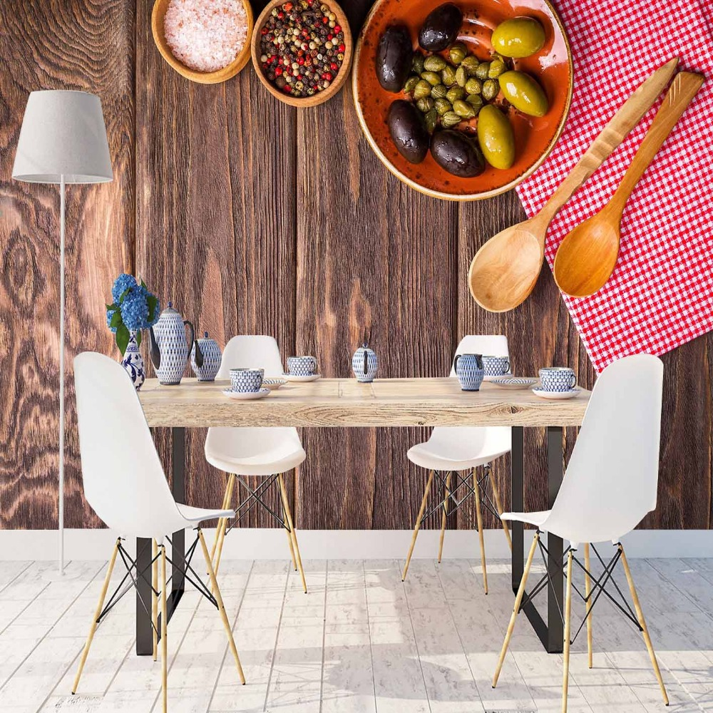 Else Brown Wooden Breakfast Table Spoon Olives 3d Print Photo Cleanable Fabric Mural Home Decor Kitchen Background Wallpaper