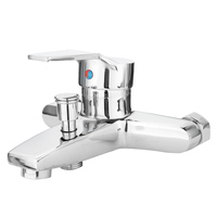Hot Cold Water Bathroom Faucet Bath Tub Mixer Tap Shower Faucet Chrome Finish Thermostatic Wall Mounted