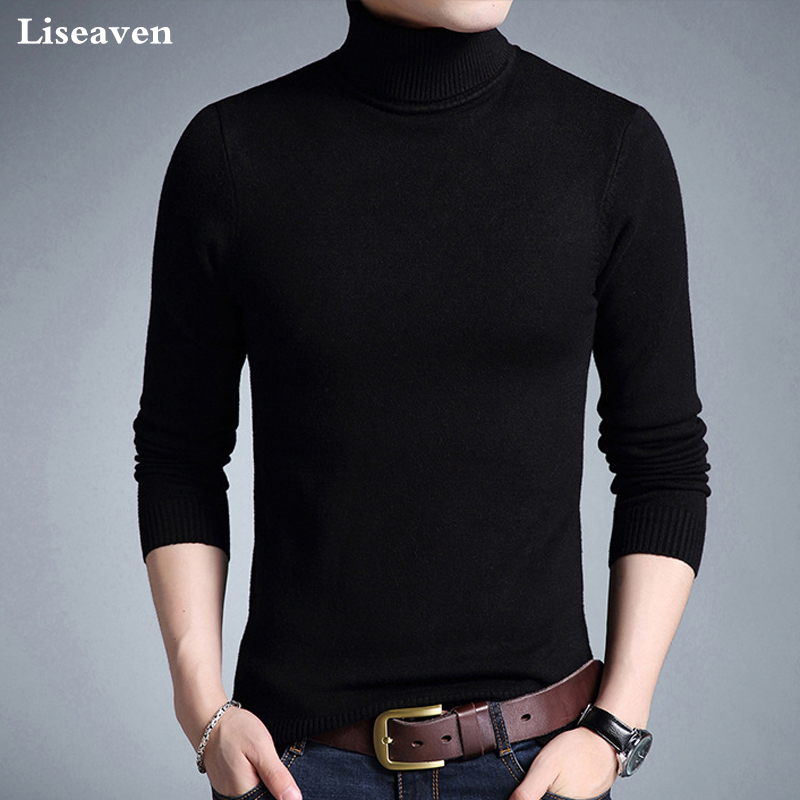 Liseaven Winter Warm Sweater Men Turtleneck Brand Mens Sweaters Slim Fit Pullover Men Knitwear Double Collar Pullovers