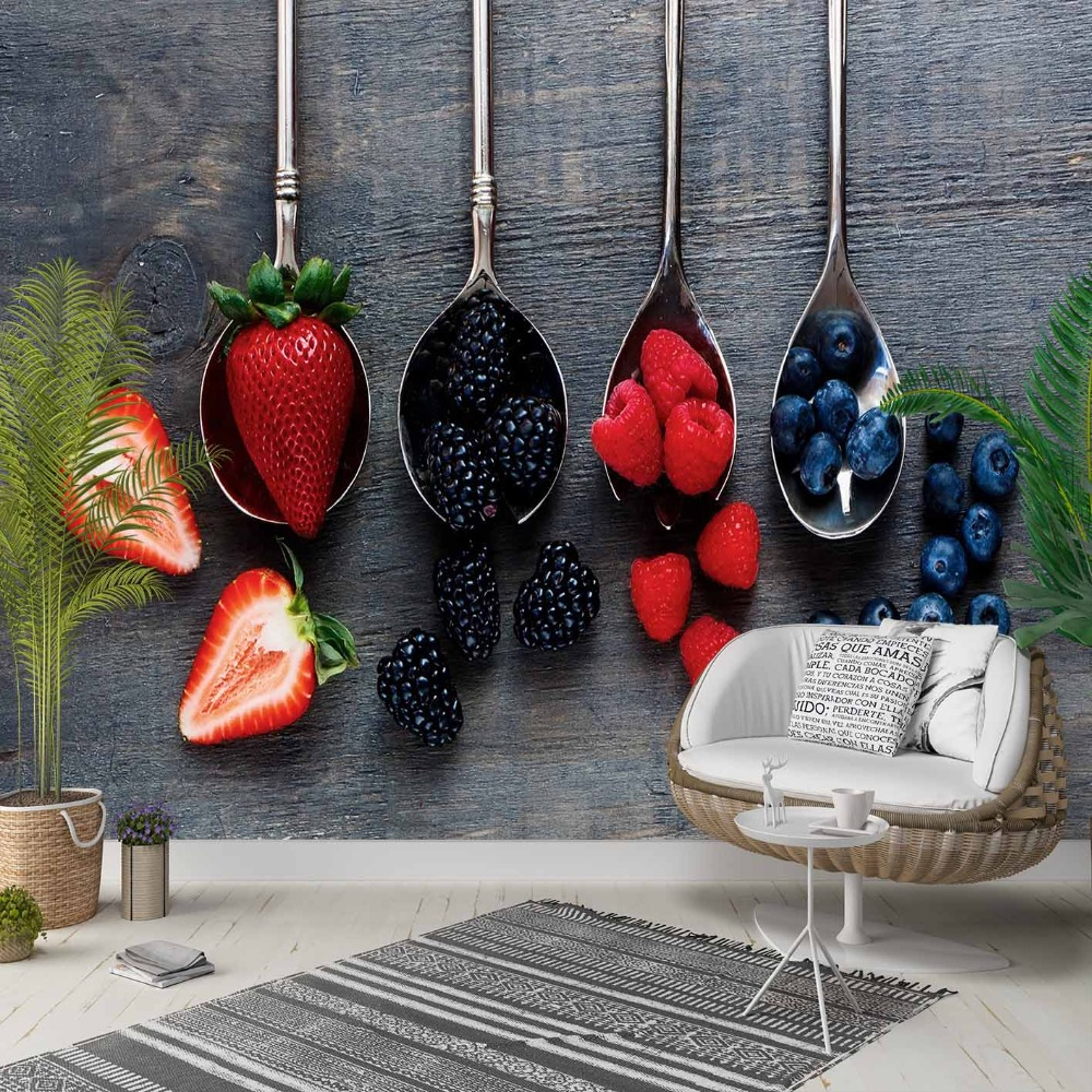 Else Gray Wood Spoons Red Strawberry Kitchen 3d Photo Cleanable Fabric Mural Home Decor Living Room Bedroom Background Wallpaper