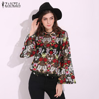 ZANZEA Women 2017 Vintage Floral Embroidery Blouses Tops Sexy Mesh Blusas Shirts Casaul O Neck Flare