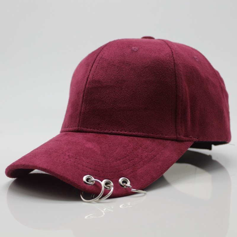 Seioum 2018 winter unisex solid Ring Safety Pin curved hats baseball cap men women Suede snapback caps casquette gorras
