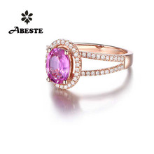 ANI 18K Rose Gold (AU750) Women Wedding Diamond Ring Certified Oval Cut Natural Pink Sapphire Engagement Gemstone Halo Ring цена 2017