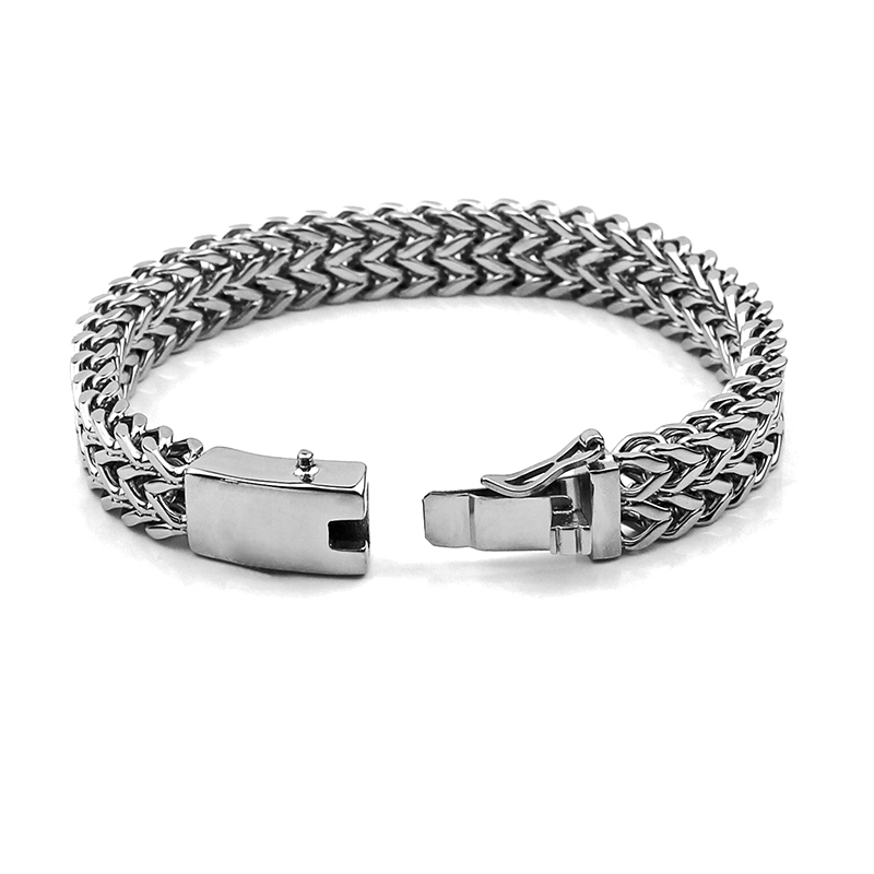 Moda 316L Acero inoxidable pulsera hombres pulseras personalizadas brazaletes 12mm Anchura muñeca mano cadena joyería regalo 014