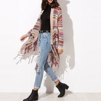2017 Autumn Spring Long Sweater Coat For Women Stylish Stripe Cardigan Sweaters Vintage Ethnic Style Knitwear