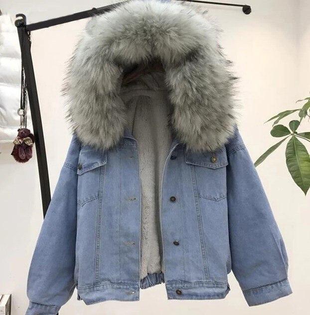 women faux leather jean jacket Winter Thick Jean Jacket Faux Fur Collar Fleece Hooded Denim Coat Female Padded Warm Denim Outwea