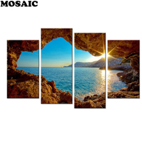 Drop Shipping,Diamond Painting Seaside Embridery Diamond Image 3D Pictures Craft Gift for Kids Room Decoration 4pcs/set