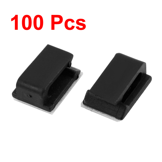 UXCELL Color 100 Pcs Adhesive Wire Cord Cable Holder Tie Clip Fixer ...