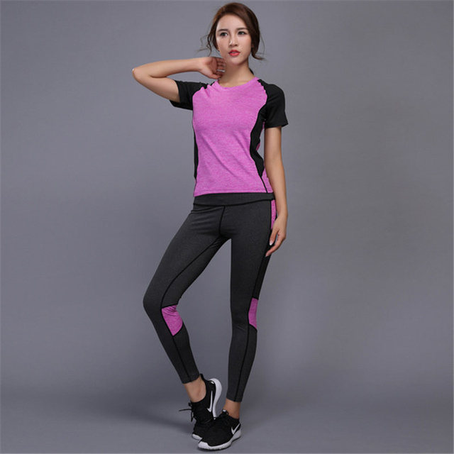 OLOEY Women's sportswear Yoga Set Fitness Gym Clothes Running Tennis Shirt+Pants Yoga Leggings Jogging Workout Sport Suit 2