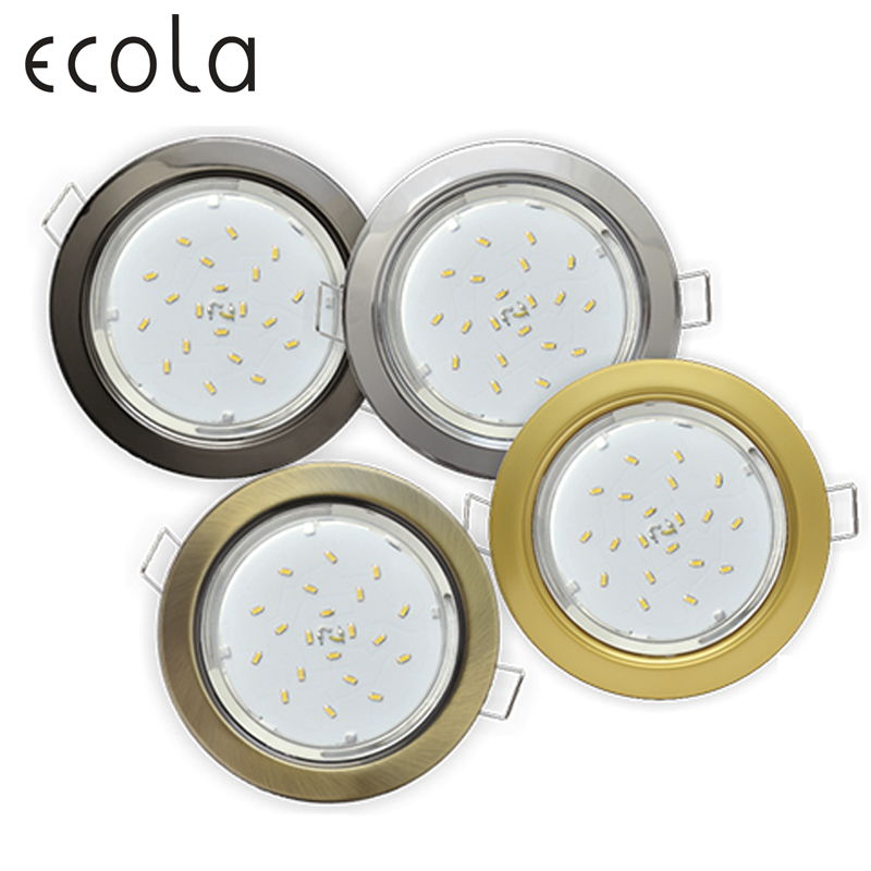 Ecola GX53 H4 Recessed Ceiling Downlight Round Spotlight Cut Hole Spot Lamp Fitting Frame Bulb Replaceable gx53 Sockets jtron 10050100w round hole ndfeb magnet silver 2 pcs