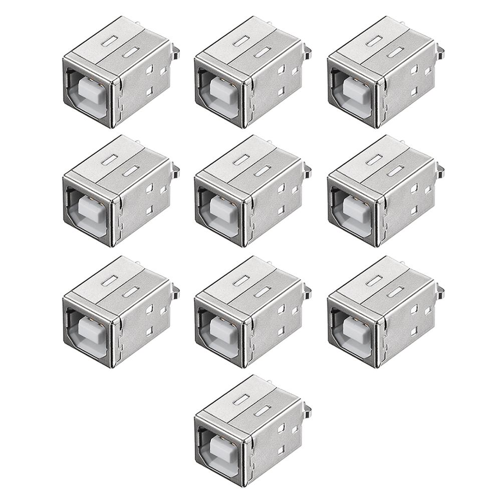 Uxcell 10Pcs PCB USB Connector B Type  4 Pin Female Jack 180 Degree DIP Vertical Straight Insert For Mini USB Application