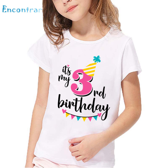 Happy Birthday Number 1 7 Letter Print Funny T Shirt Kids Summer White Tops Baby Girls Present ShirtHKP2432