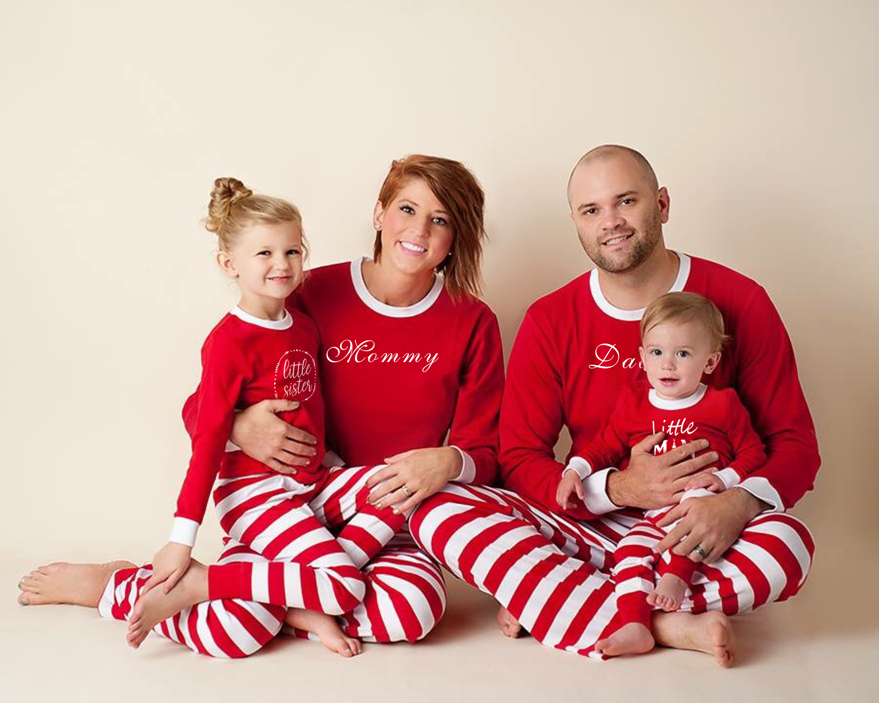 1f6525e4ad Hot Family Matching Christmas Red Striped Pajamas Set Mommy Daddy Kids Xmas  New Year Sleepwear Nightwear Outfits Christmas Gift