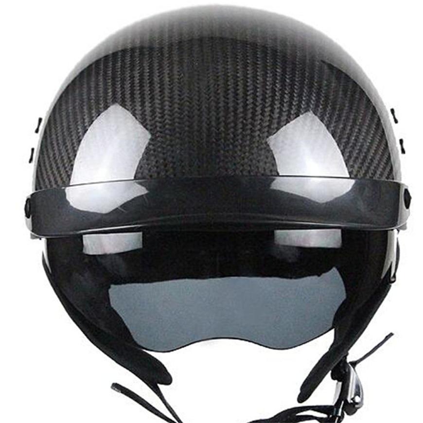 Free shipping 1pcs Vintage 3/4 Open Face helmet casco moto capacete Carbon fiber Retro Scooter Motorcycle Helme