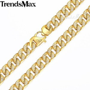 Image 2 - Trendsmax Hip Hop Iced Out Full Rhinestone Men Necklace Gold Stainless Steel Chain Necklace for Men Jewelry KHN109