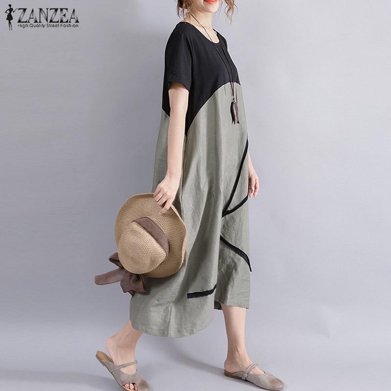 Plus Size ZANZEA Women Casual Summer O Neck Short Sleeve Pockets Party Baggy Midi Dress Loose Splice Linen Beach Shirt Vestido 1