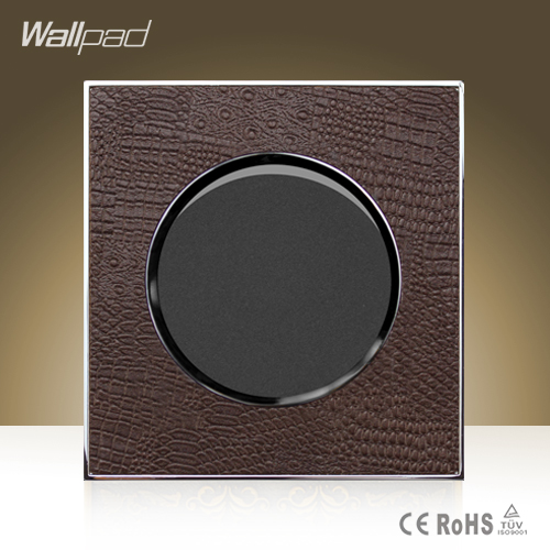 Wallpad Luxury Round 1 Gang 2 Way Goats Brown Leather UK Standard Push Button Wall Switch Panel ,Free Shipping 5 gang 2 way free shipping 2017 hot sale china manufacturer wallpad luxury push button wall light switch magnesium alloy panel