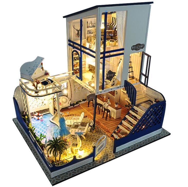 blue 3D Doll's House Wooden DIY Starlight waltz Doll Houses Furniture Kit DIY <font><b>Puzzle</b></font> Assemble <font><b>Dollhouse</b></font> Toys Birthday Gifts