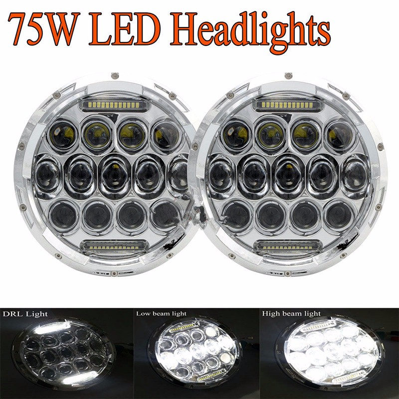 75w Headlamp 7 Inch Led Headlight with DRL for Wrangler Jk Tj Fj Cruiser Trucks Off Road Lights delicate faux pearl hollow out ball shape necklace for women