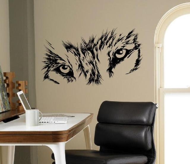 Sharp Wolf Eyes Wall Decals Animal Series Vinyl Wall Mural Beast Wild Animal Art Design For & Sharp Wolf Eyes Wall Decals Animal Series Vinyl Wall Mural Beast ...